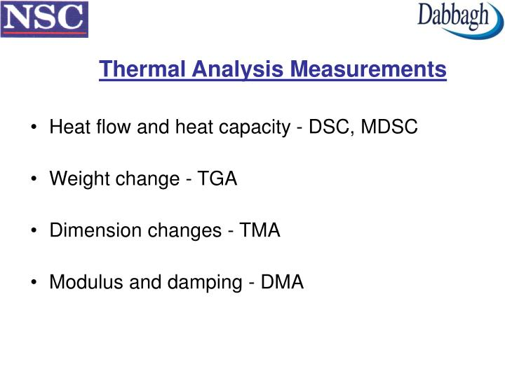 Thermal Analysis Measurements