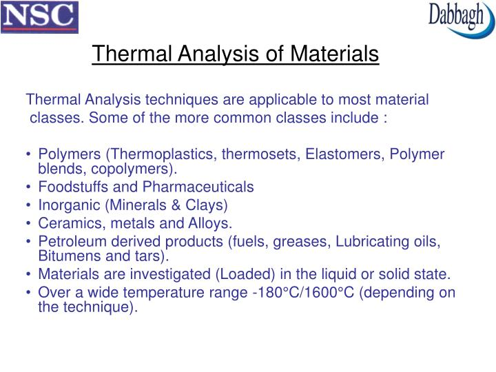 Thermal Analysis of Materials