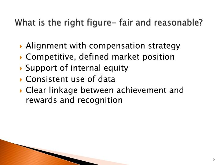 What is the right figure- fair and reasonable?