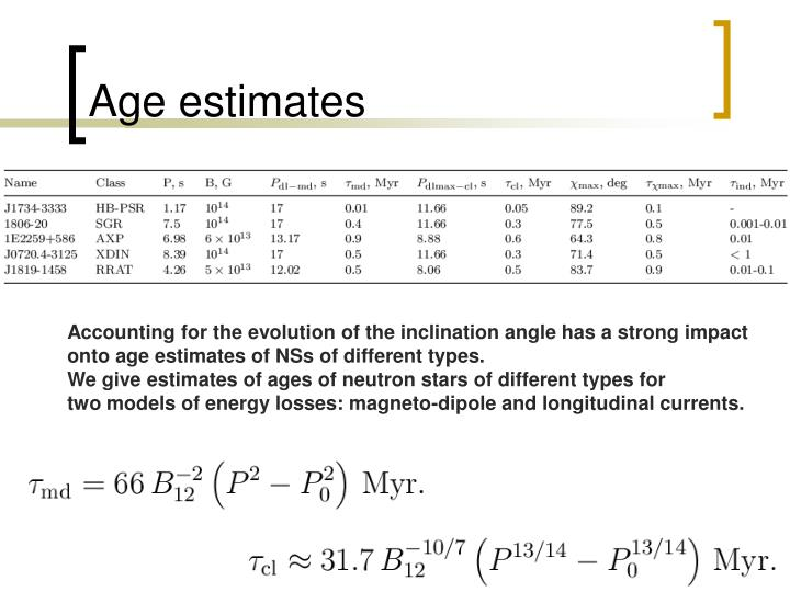Age estimates