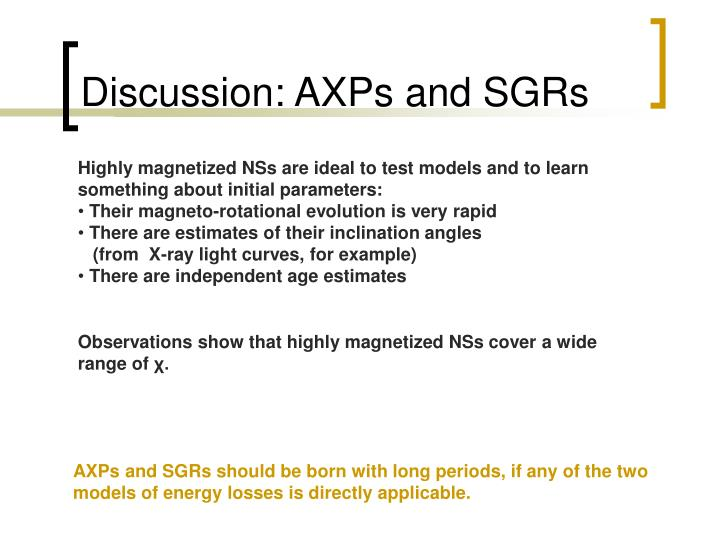 Discussion: AXPs and SGRs
