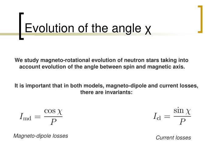 Evolution of the angle