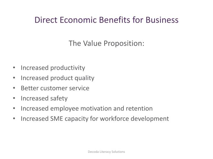 Direct Economic Benefits for Business