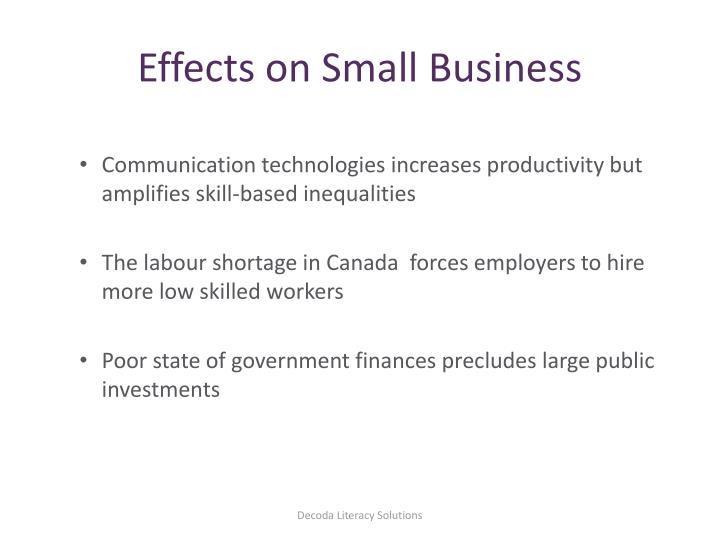 Effects on Small Business