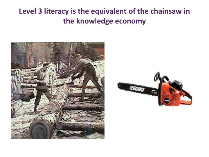 Level 3 literacy is the equivalent of the chainsaw in the knowledge economy