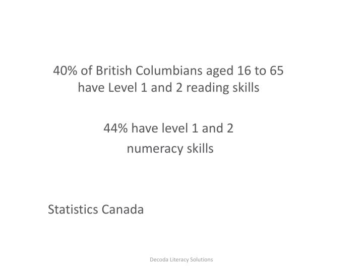 40% of British Columbians aged 16 to 65 have Level 1 and 2 reading skills