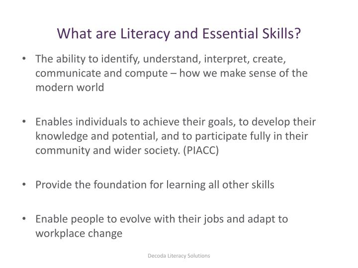 What are Literacy and Essential Skills?