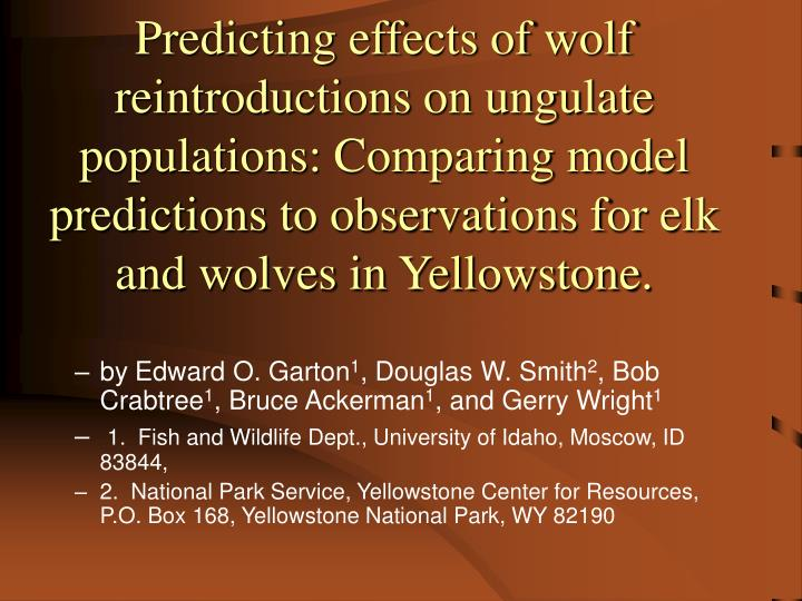 Predicting effects of wolf reintroductions on ungulate populations: Comparing model predictions to observations for elk and wolves in Yellowstone.