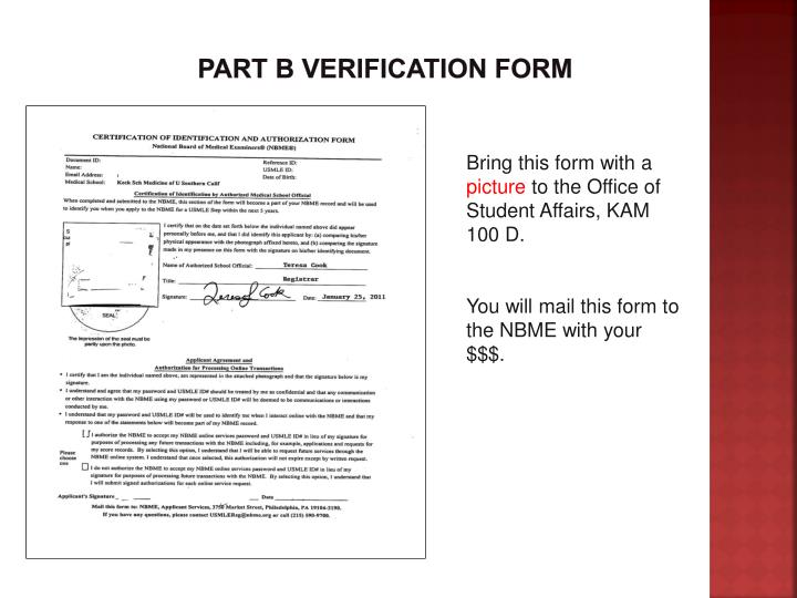 Part B Verification FORM