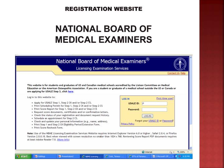 Registration website national board of medical examiners