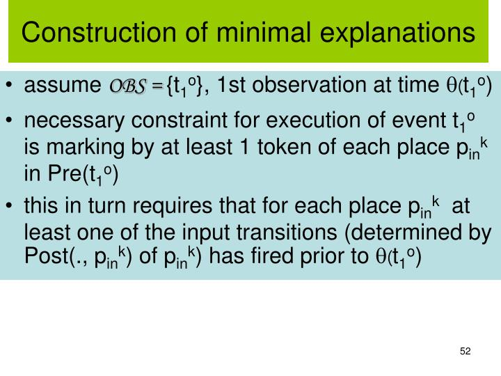 Construction of minimal explanations