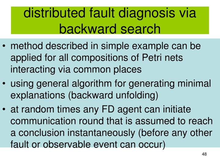distributed fault diagnosis via backward search