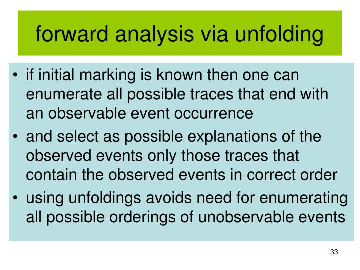 forward analysis via unfolding
