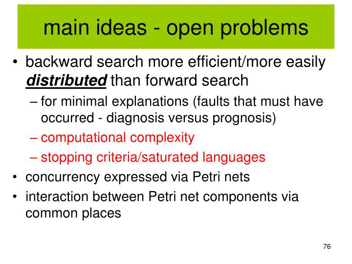 main ideas - open problems