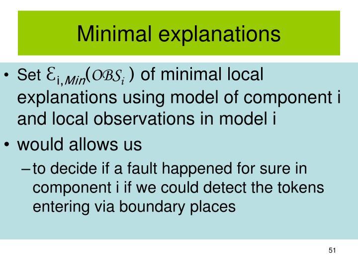 Minimal explanations