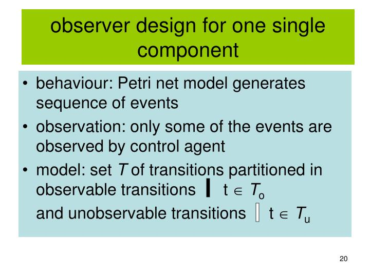 observer design for one single component