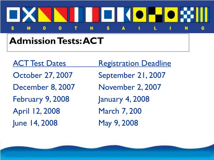 Admission Tests: ACT