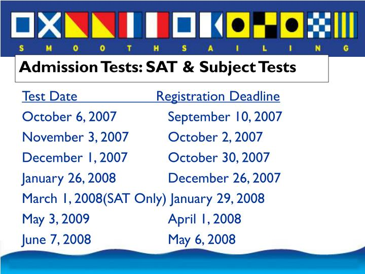 Admission Tests: SAT & Subject Tests