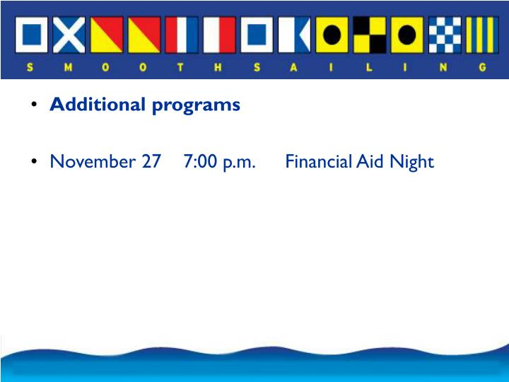 Additional programs