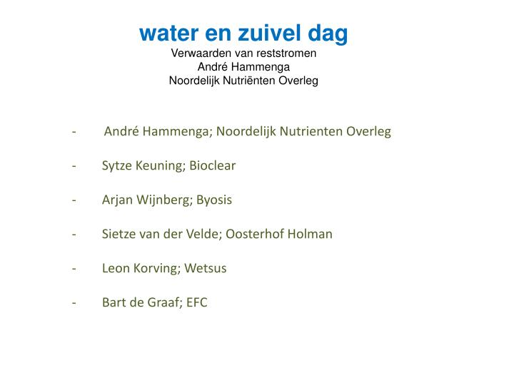water en zuivel dag