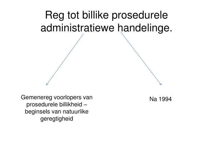 Reg tot billike prosedurele administratiewe handelinge.