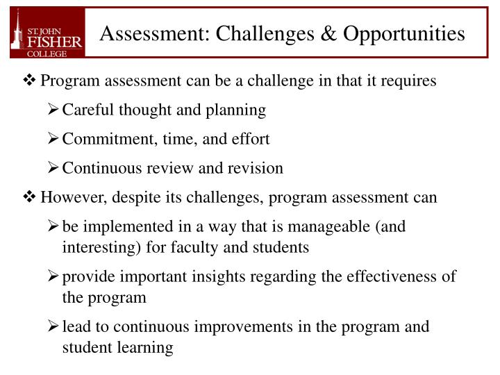Assessment: Challenges & Opportunities