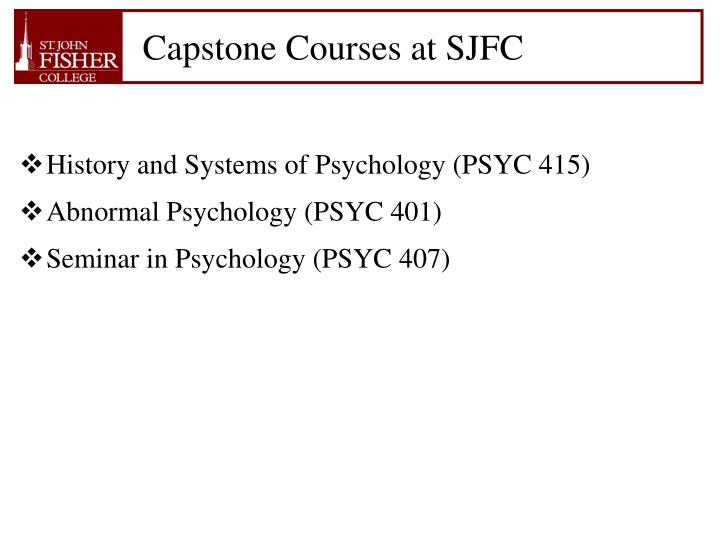 Capstone Courses at SJFC