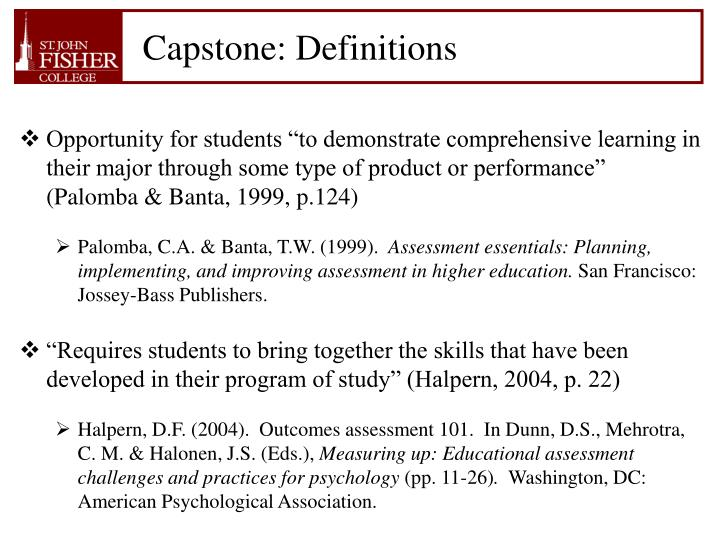 Capstone: Definitions
