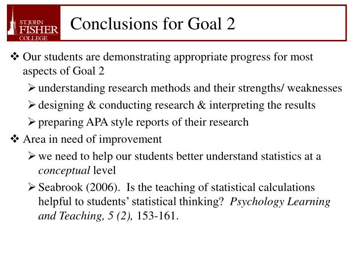 Conclusions for Goal 2