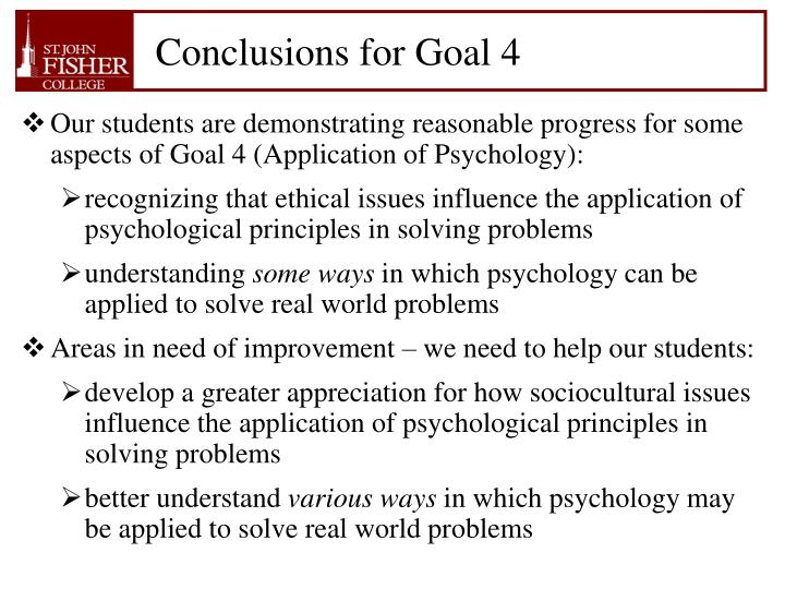 Conclusions for Goal 4