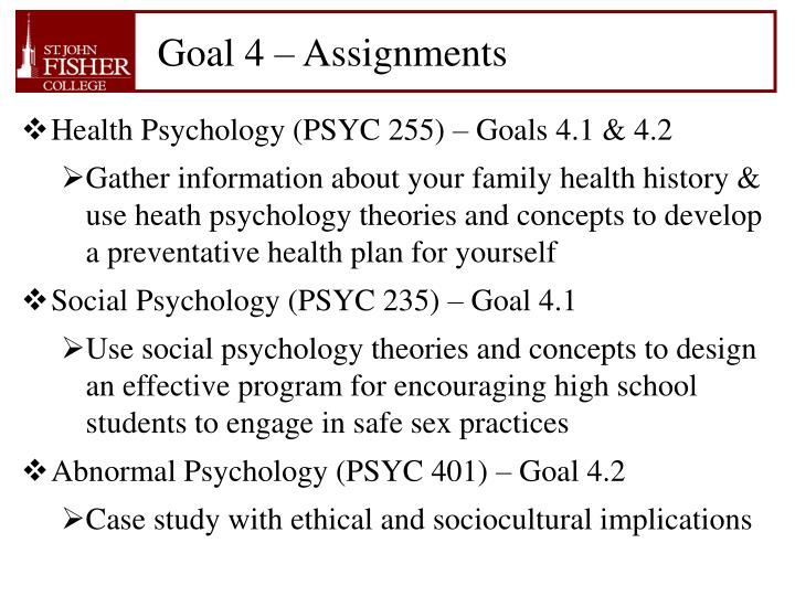 Goal 4 – Assignments