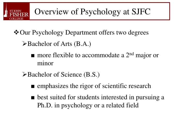 Overview of psychology at sjfc