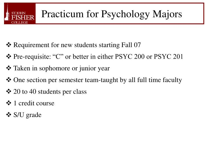 Practicum for Psychology Majors