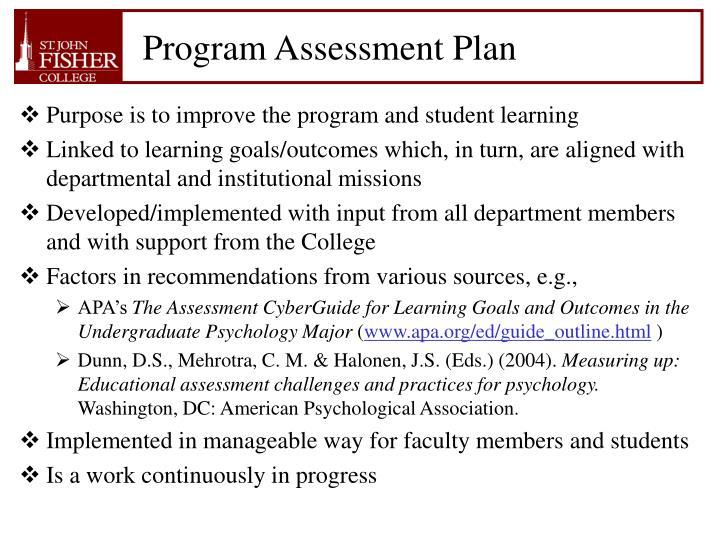 Program Assessment Plan