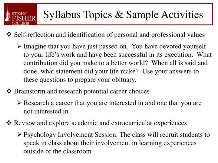 Syllabus Topics & Sample Activities