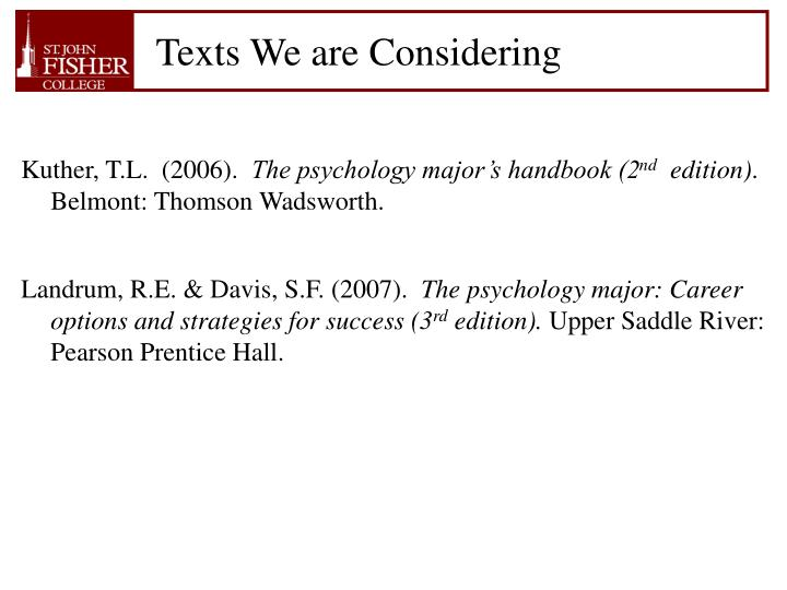Texts We are Considering