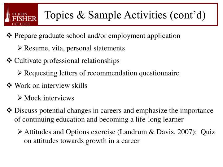 Topics & Sample Activities (cont'd)