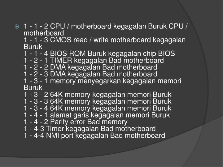 1 - 1 - 2 CPU / motherboard