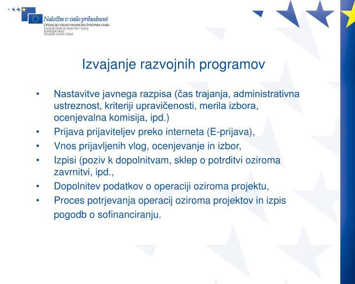 Izvajanje razvojnih programov