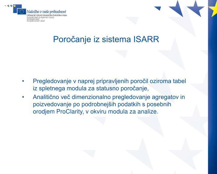 Poročanje iz sistema ISARR