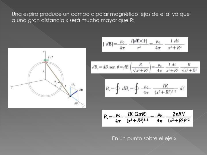 Una espira produce un campo dipolar magnético lejos de ella, ya que a una gran distancia x será mucho mayor que R: