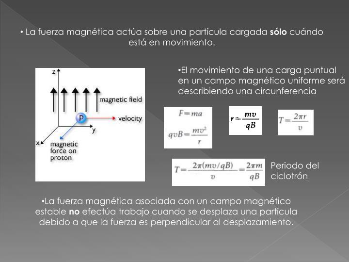 La fuerza magnética actúa sobre una partícula cargada