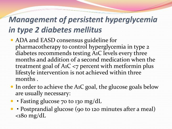 Management of persistent hyperglycemia in type 2 diabetes mellitus