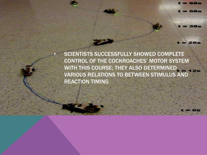 Scientists successfully showed complete control of the cockroaches' motor system with this course; they also determined various relations to between stimulus and reaction timing