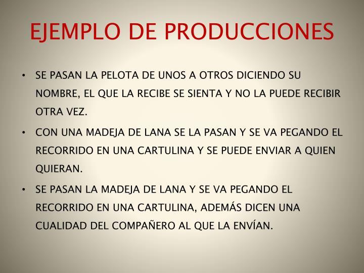 EJEMPLO DE PRODUCCIONES
