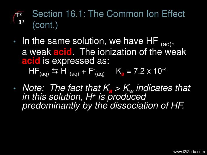 Section 16 1 the common ion effect cont