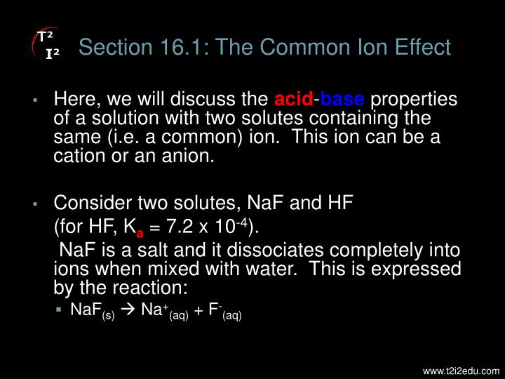 Section 16.1: The Common Ion Effect