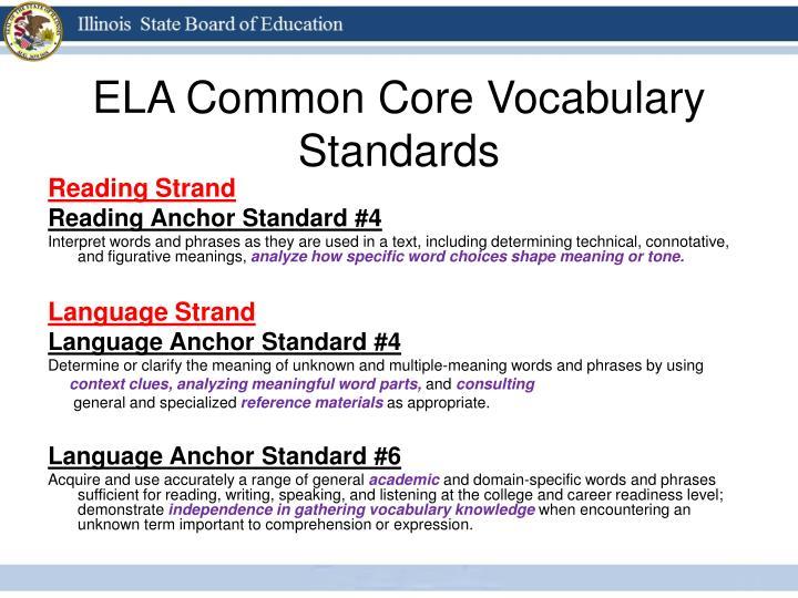 ELA Common Core Vocabulary Standards