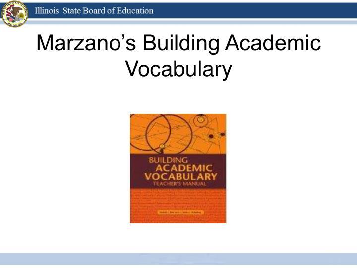 Marzano's Building Academic Vocabulary