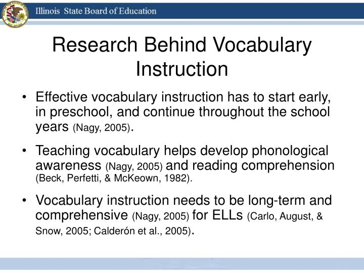 Research Behind Vocabulary Instruction